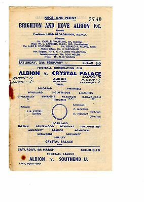 Brighton v Crystal Palace Reserves Programme 25.2.1950 Combination Cup