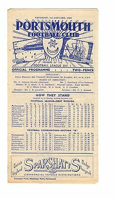 Portsmouth v Crystal Palace Reserves Programme 1.1.1949 Combination Cup