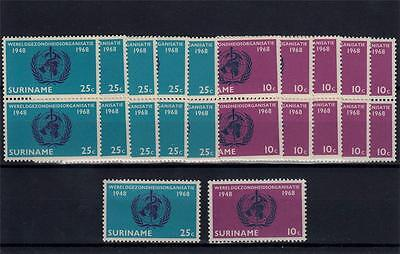 Suriname 1968 MNH Anniv WHO 11x Set Incl Pairs 22 Stamps #A1977