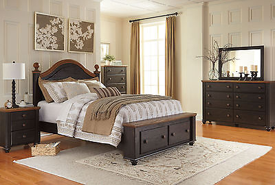 KELLY-5pcs Traditional Black & Brown Poster Storage Queen Bedroom Set Furniture