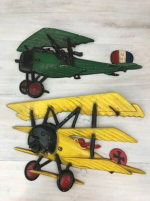 Vintage Homco Metal Airplanes Wall Hanging Decorative Plaques 1975 Set of 2