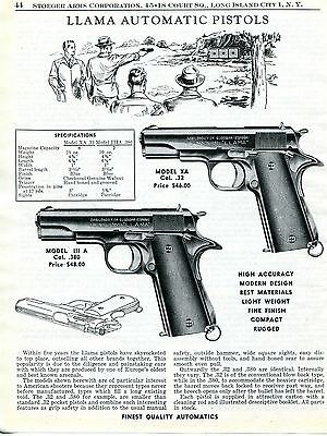 1956 Print Ad of Llama Model XA .32 & III A .380 Automatic Pistol