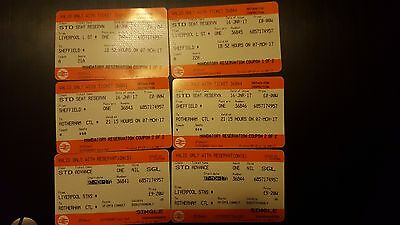 TWO SINGLE  TICKETS LIVERPOOL TO SHEFFIELD 7th MARCH