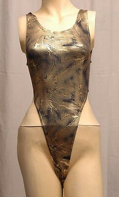 New Shiny Gold Metallic Print Thong Leotard for Women size 8 Small