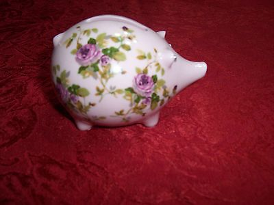 """Old / Vintage Highly Decorative Painted/Stenciled Piggy Bank (approx. 4"""" long)"""