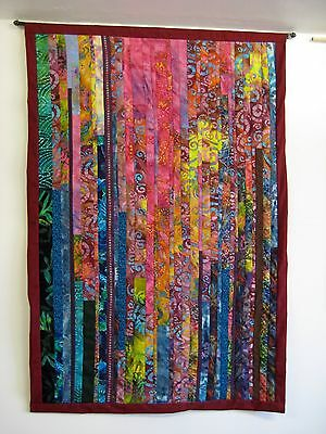 """Quilted Wall Hanging/Kaleidoscope #3/32 1/2"""" x49 1/2""""/over 400 pieces/signed"""