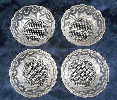 """Four Vtg EAPG Manhattan Clear 4 1/2""""  Sauce Bowls by US Glass - Dots & Cane"""