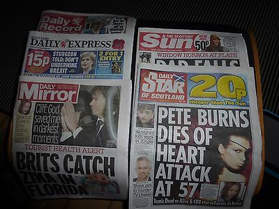 dead or alive pete burns 8 SCOTLAND newspapers  exclusive pictures 25/26.10.16