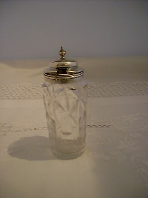 Antique Victorian Silver Topped Cut Glass Condiment Jar 1861