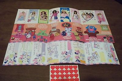 Blues Clues Barbie Mickey&Friends Valentines w/stickers Lot of 24 Different-New