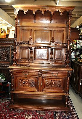 Exquisite French Antique Carved Walnut Gothic Server / Sideboard.