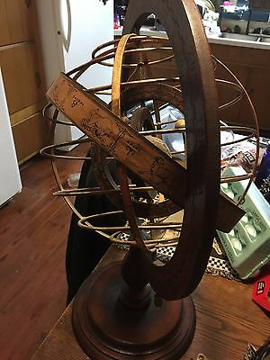 "BIG 22"" Italian Old Hand Made Antique Armillary Astrological Zodiac Globe Sphere"
