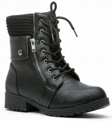 BLACK GESON-01 Women Faux Leather Zipper Accent Lace Up Riding Boot Size 8