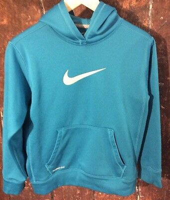 Nike  Boys THERMA-FIT Teal Blue Pullover Hoodie Size L