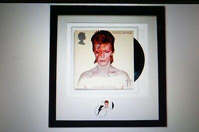 RARE David Bowie Print+ Stamp Aladdin Sane Limited Edition of 950. Royal Mail UK
