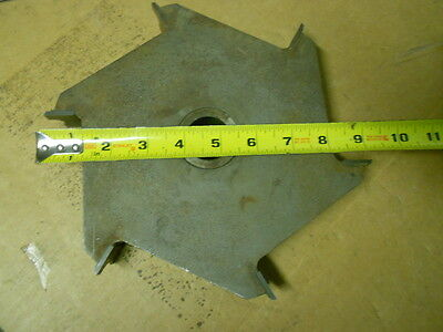 "Vintage Large Carbide Shaper Cutter 9"" diameter 6 wing 1-1/4 Bore"