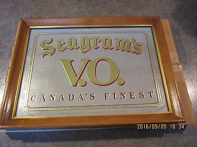 "SEAGRAMS VO CANADAS FINEST whiskey mirror bar sign 20 3/8"" X 15 1/2"" IN BOX"