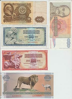 5 World Banknotes Mixed Lot #15