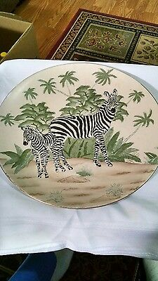 Large hand painted Zebra decorative plate.