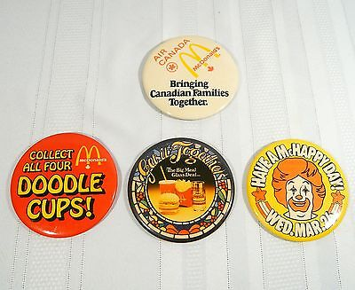 Vintage McDONALD'S BUTTONS Air Canada Pin Back Button + 3 more McDonald Buttons