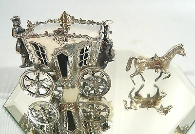 Antique Miniature Dutch Sterling Silver Horse Coach Driver & Footman Victorian