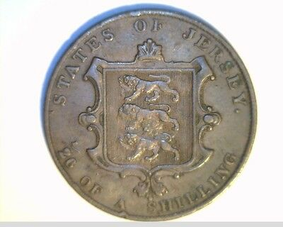 1844 Jersey, 1/26 Shilling,  High Grade Circulated Copper Coin, (Jer-3)