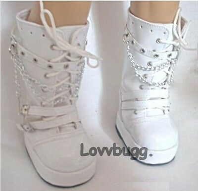 "White Patent Go-Go Rocker Boots for American Girl 18"" Doll Clothes by Lovvbugg"