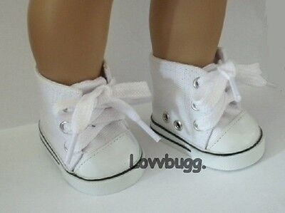 """Lovvbugg White High Tops Sneakers Doll Shoes for 18"""" American Girl Clothes"""