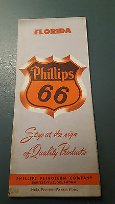 1959 Vintage Phillips 66 Florida State  Road Map Oil Gas