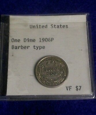 1906 United States Barber Dime 90% Silver