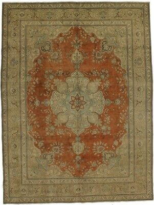 Antique washed Faded Muted Tabriz Persian Oriental Area Rug Carpet Sale 10X13