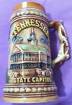 Tennessee 3D Ceramic Beer Stein Souvenir 7 inch Made in Japan NEAR MINT