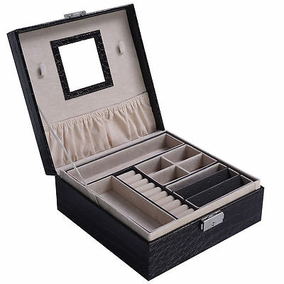 Details about  Jewelry Box Storage Organizer Case Ring Earring Necklace Mirror P