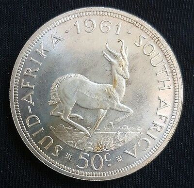 1961 South Africa 50 Cents UNCIRCULATED Silver Crown (PROOFLIKE).....