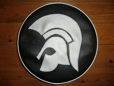 Black & Silver Large Trojan Head Scooter Wheel Cover