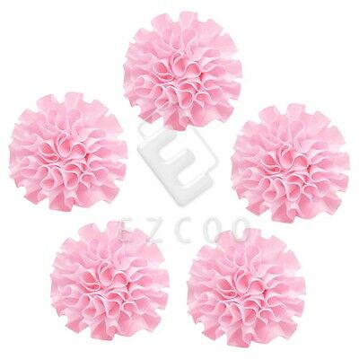 5pcs Satin Ribbon Flower Carnation 50mm Craft Wedding Appliques Favor Pink CA