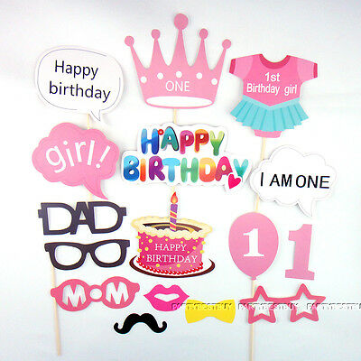 25pcs 1st First Birthday Photo Booth Props Girl Baby Shower Party Photography
