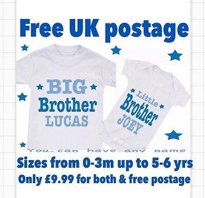 Big Brother Sister Cousin Bodysuit & T-SHIRT Set BoyAny Design OR YOUR TEXT HERE