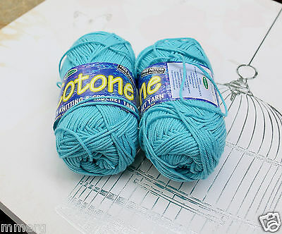 2x 50g COTONE Blue 5 PLY Knitting and Crochet Yarn by Sullivans new
