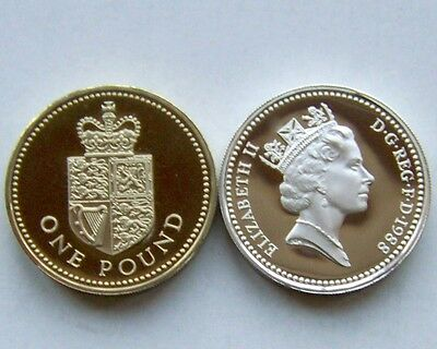 1988 proof One Pound,Royal Arms