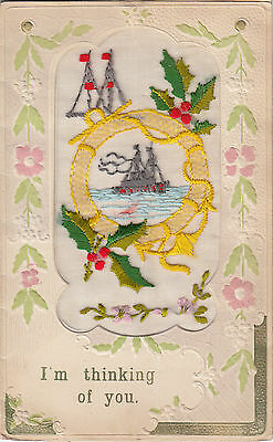 Ww1 Embroidered Silk Royal Navy Card Showing Early Battleship Nice Message Inner