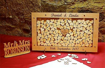 Personalised Wedding Drop Box Snazzy Guest Book + Mr & Mrs Sign + Wood Hearts