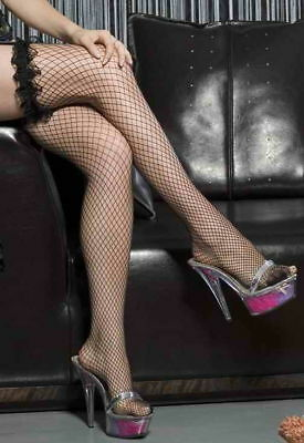 BLACK Frilly Lace Top Fishnet Stockings..Very Sexy-S/M