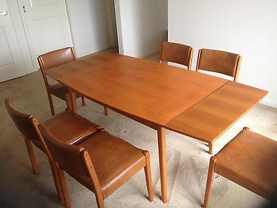 Retro Teak 60's Extending Dining Table with 6 chairs
