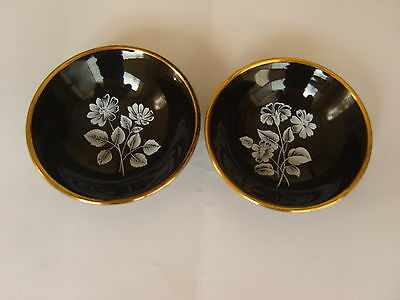 Two Wade Trinket Dishes, Black with flower & gold rim.