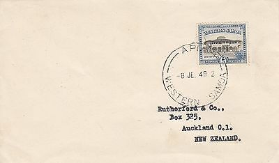 D 767 Apia Samoa June 1949 unsealed rate cover to New Zealand;  5d PO stamp