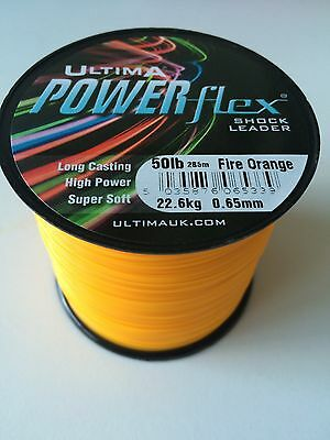 ULTIMA POWERFLEX Shockleader 50lb Fire Orange 285Mtr 4oz Spool Line Cast