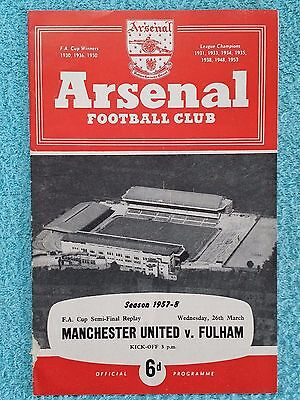 1958 - FA CUP SEMI FINAL REPLAY PROGRAMME - MANCHESTER UTD v FULHAM