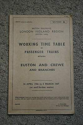 Working Timetable BR (LMR) Western Lines passenger trains April 1966-March 1967