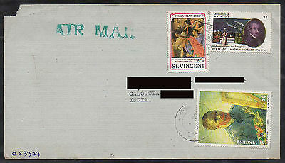 st. vincent to india with stamps van gogh christmas  painting   a172.96